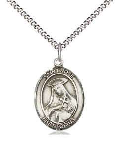 Women's Pewter Oval St. Rose of Lima Medal [BLPW523]