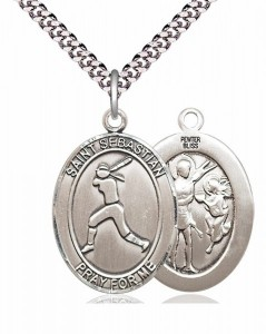 Women's Pewter Oval St. Sebastian Softball Medal [BLPW196]