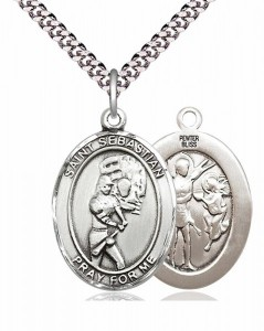 Women's Pewter Oval St. Sebastian Softball Medal [BLPW398]