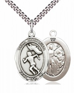 Women's Pewter Oval St. Sebastian Track and Field Medal [BLPW400]