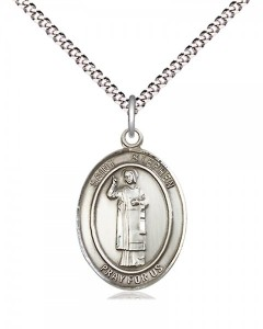 Women's Pewter Oval St. Stephen the Martyr Medal [BLPW531]