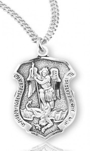 Women's Saint Michael Sterling Silver Police Shield Necklace [HMR2004]