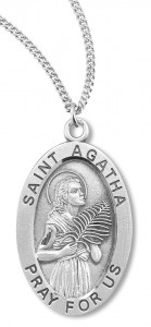 Women's St. Agatha Necklace Oval Sterling Silver with Chain Options [HMR1193]