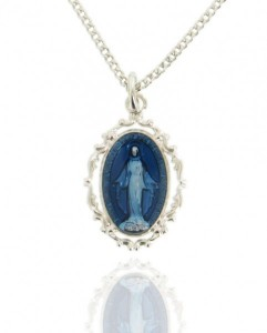 Women's Sterling Silver Oval Dark Blue Enamel Miraculous Medal with Baroque Border [MVS1002]