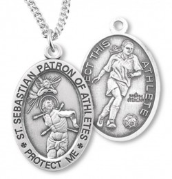 Women's Sterling Silver Saint Sebastian Soccer Oval Necklace [HMS1089]