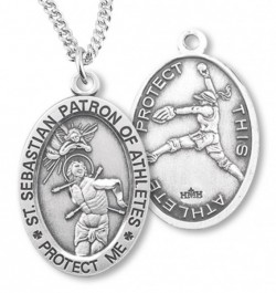 Women's Sterling Silver Saint Sebastian Softball Oval Necklace [HMS1087]