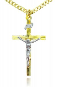 Women's Two Tone 14K Gold over Sterling Silver Risen Sun Crucifix [STM0001]