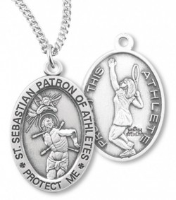 Girl's Oval Double-Sided Tennis Necklace with Saint Sebastian Back in Sterling Silver [HMS1125]