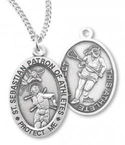 Girl's Oval Double-Sided Lacrosse Necklace with Saint Sebastian Back in Sterling Silver [HMS1128]